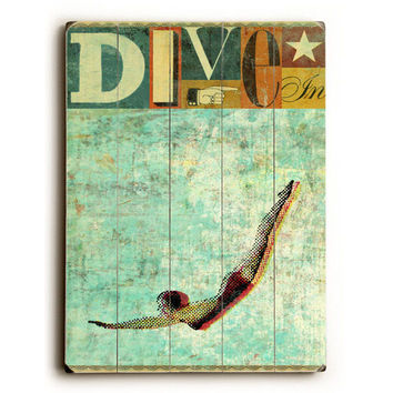 Dive by Artist Stella Bradley Wood Sign