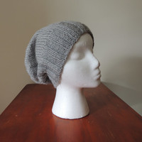 Gray Hand Knit Slouchy Hat Beanie
