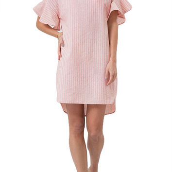 Bell Sleeve Striped Midi Dress- Dusty Pink