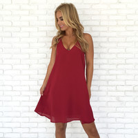 Diamond Back Shift Dress In Burgundy