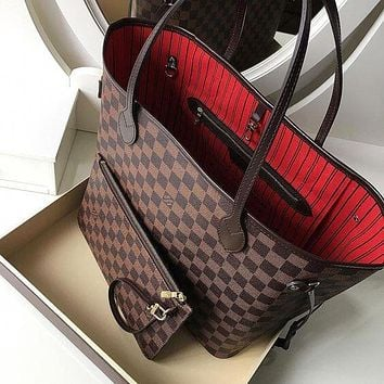 LV Tide brand shopping bag classic old flower portable large capacity mother bag two-piece Coffee check
