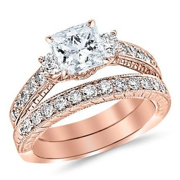 GIA CERTIFIED | 1.53 Carat Classic Channel Set Wedding Set Bridal Band & Diamond Engagement Ring with a 0.5 Carat Princess Cut E Color VS1 Clarity Center Stone (Yellow, White, Rose)