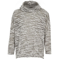 River Island Girls grey space dye cowl neck sweater