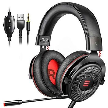 EKSA E900 Gaming Headset Xbox One Headset with 7.1 Surround Sound, PS4 Headset Noise Cancelling Over Ear Headphones with Mic&LED Light, Compatible with PC, PS4, Xbox One Controller, Nintendo Switch: Computers & Accessories
