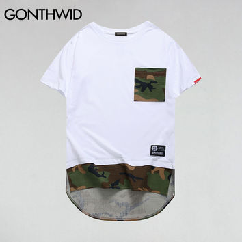Men Camouflage Patchwork Longline T Shirts Male Hip Hop Pocket Hemline Tops Tee Hipster Casual High Low T Shirts