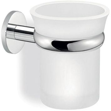 SCBA Twist Wall Frosted Glass Toothbrush Toothpaste Holder Bath Tumbler - Brass
