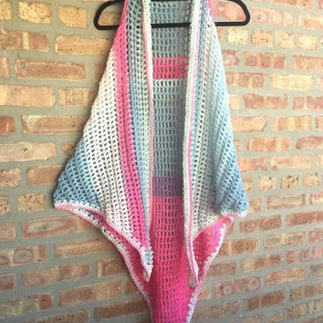 Long Vest Shawl Handcrochet Boho Retro Hippie Handmade For Teenagers