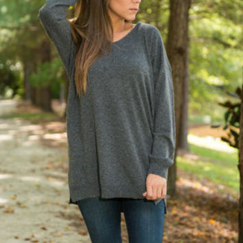 Double Or Nothing Tunic, Charcoal