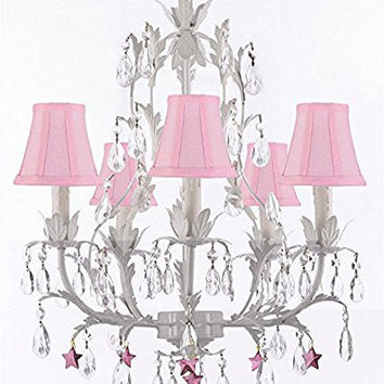 White Wrought Iron Floral Chandelier Lighting W/ Purple Stars And Shades! - G7-Sc/Pinkshade/B51/White/407/5