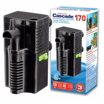 Penn Plax Cascade 170 Submersible Aquarium Filter Cleans Up to 5 Gallon Fish Tank