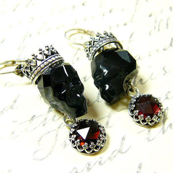 Gothic Sterling Silver Swarovski Jet Skull Earrings with Tiara Crown and Rose Cut Garnets