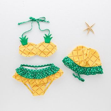 New Summer Two-Piece Girls Bikini Set Lovely Pineapple Child Swimsuit Beachwear Halter Backless Girls Swimwear Bathing Suits Hat