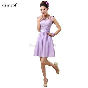 drnwof 2017 Short Bridesmaid Dresses fit Junior Sleeveless A-Line Off the Shoulder Color Light Purple Formal Party Prom Dress