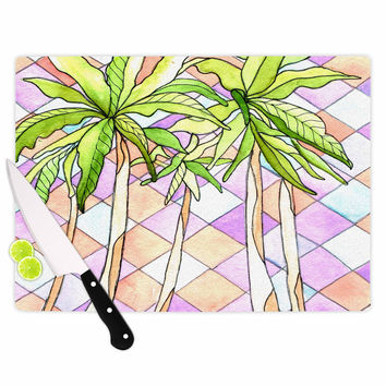 "Rosie Brown ""Geometric Tropic"" Pink Green Cutting Board"
