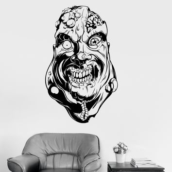 Vinyl Wall Decal Zombie Dead Brain Horror Art Stickers Mural Unique Gift (ig3957)