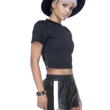 CITY SLICKER FAUX LEATHER SHORTS