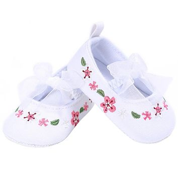 Lovely Bow-knot Flower Print Kid Infant Toddler Shoes For Newborn Baby Girl Lace Shoes Soft Sole Anti-Slip Prewalker