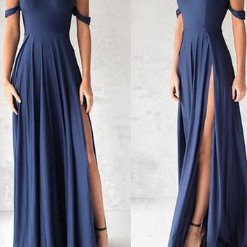 Sweetheart Neck Off Shoulder Blue Chiffon Prom Dress, Blue Bridesmaid Dress, Formal Dress
