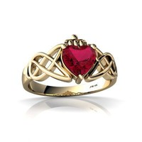 14K Yellow Gold Heart Created Ruby Celtic Claddagh Knot Ring Size 4