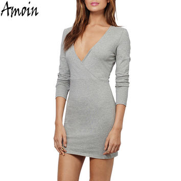 Amoin Sexy Women Long Sleeve V-neck Short Mini Dress New 2017 Fashion Autumn Winter Casual Sheath Bodycon Office Pencil Dress