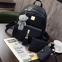 New Arrival 3pcs/set Small Bear Pendant Girls Schoolbag PU Tassel Women Backpack Double Zipper Women Bag Vintage Backpack Bag