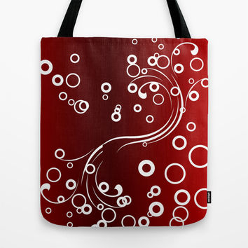 White abstracts on Red Tote Bag by Texnotropio