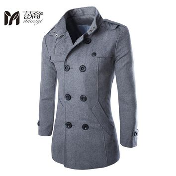 Men handsome winter wool jackt 2016 Formal British style woolen coats Mens Casual Fashion Jacket Silm   Mens wear overcoat