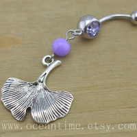 ginkgo leaf Belly Button Rings,leaf Navel Jewlery,purple belly button ring,bead belly ring,friendship jewelry