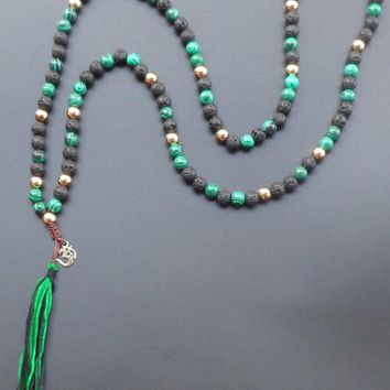 108 mala necklace Natural stone with Gold plated OM tassel long necklace yoga boho Jewelry For Women Jewelry 8mm bead