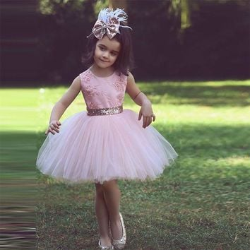 Pink Custom Made Knee Length Sequin Ball Gown Cute Flower Girl Dresses 2017 O Neck Sleeveless Kids Pageant First Communion Gowns