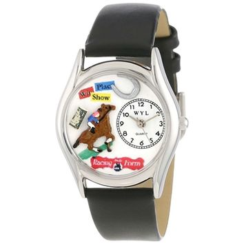 SheilaShrubs.com: Women's Horse Racing Black Leather Watch S-0810007 by Whimsical Watches: Watches