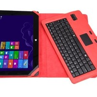 MoKo Bluetooth Keyboard Cover Case for Microsoft Surface RT / Surface Pro / Surface 2 / Surface Pro 2 10.6 inch HD Windows 8 / RT Tablet, RED