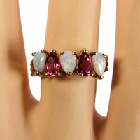 Vintage 10K Yellow Gold Pear Cut Opal and Pink Tourmaline Ring Size 7