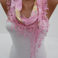 Pink Shawl Scarf - Headband - Cowl with Lace Edge - Spring Trends