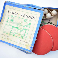 Vintage Boxed A Kenway Product Made in England Table Tennis/Ping Pong Set
