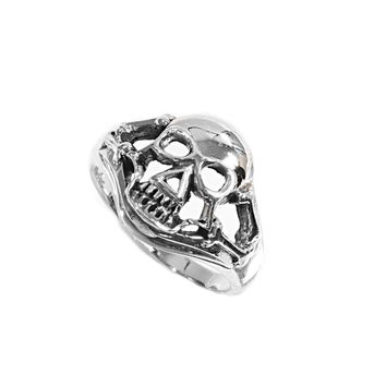 925 Sterling Silver In the Coffin of Life Skull Ring