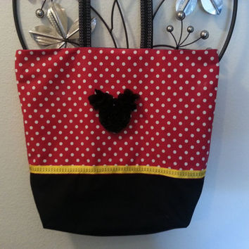 Disney Mickey Mouse Themed Fabric Tote Bag or Purse