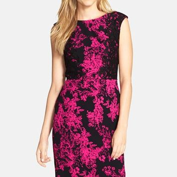 Women's Adrianna Papell Lace On Lace Printed Sheath Dress,