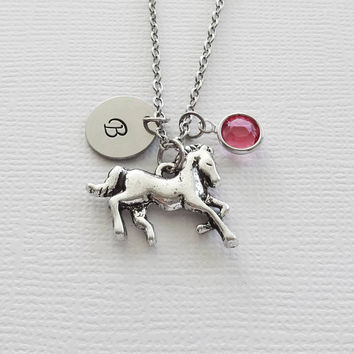 Horse Necklace Pony Cowgirl Cowboy Western Running Galloping Jewelry Swarovski Birthstone Silver Initial Personalized Monogram Hand Stamped