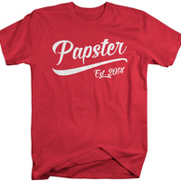 Men's Papster Est. 2014 T-Shirt Grandpa Shirts Father's Day Gift Idea Established Grandfather Tee