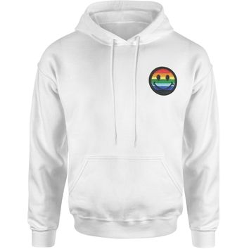 Embroidered Rainbow Pride Smile Face Patch (Pocket Print) Adult Hoodie Sweatshirt