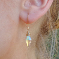 14K Gold Filled Wire Wrapped Crystal Earrings Rhombus Shaped Crystal points spikes Jewelry