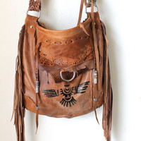Fringed lwarm brown leather tribal  eagle aztec navajo purse  southwestern motorcycle bag motor bike bag native indians agate boho festival