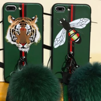GUCCI Tiger fox ball iPhone7olus mobile phone shell X European and American female iPhone8p soft silicone case 6s full package hang rope