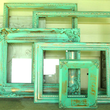 5 Mint Green Ornate Distressed Picture Frames with Gold Undertones