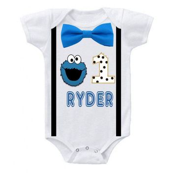 Cookie Monster Bowtie Suspender Onesuit
