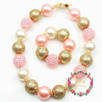 """Lola"" Pink-Gold-Pearl Bubblegum Chunky Necklace"