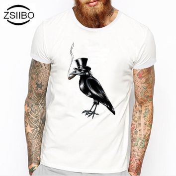 ZSIIBO TX217 Summer Fashion The wood is a bird Design T Shirt Men's High Quality Custom Printed Tops Hipster Tees