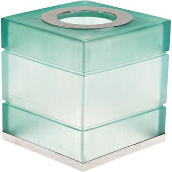 Bathsense Whisper Collection Resin Tissue Box Cover with Metal Accents, Frosted Glass