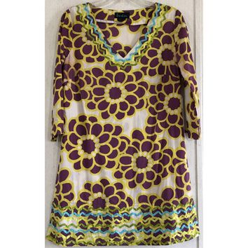 Boden Floral Shift Dress Mod Purple Yellow Ribbon Ric Rac White Tunic V-Neck 8